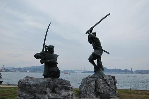 Miyamoto Musashi and Sasaki Kojiro, well known by all Japanese people as the leading fencers in Japan, fought the historical duel in the 17th century at Funashima also called Ganryujima island on the Kanmon Strait between Honshu and Kyushu.