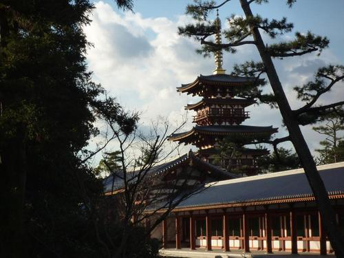 'Yakushi-ji' in Nara is the main temple the 'Hosso' sect, with two brilliant pagodas working as accessaries for a main hall of the temple, which is called the 'Yakushi-ji' style arrangement.