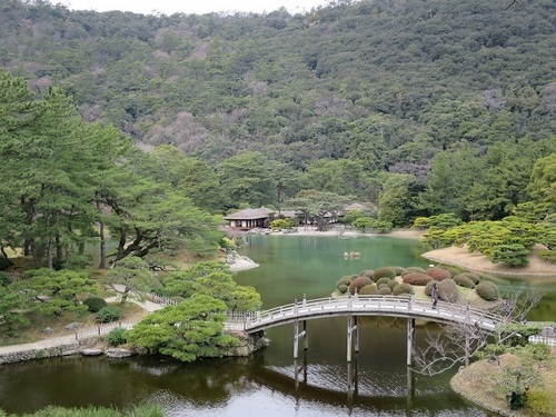 'Ritsurin Koen' Japanese Garden in Takamatsu City, Kagawa Prefecture, which was built by the successive feudal lords of Takamatsu domain taking some 100 years, is one of the representative 'daimyo gardens' in Japan. *daimyo means feudal lord.