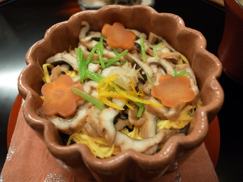 Nushi Sushi with Anago,Ebi Soboro, Shiitake